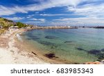 sandy beach in nea skioni... | Shutterstock . vector #683985343