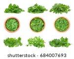 top view of fresh coriander... | Shutterstock . vector #684007693