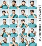 set of handsome emotional man... | Shutterstock . vector #684012997