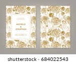wedding invitation with golden... | Shutterstock .eps vector #684022543