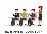 happy businesspeople clapping... | Shutterstock .eps vector #684035947