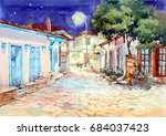 night spring landscape  village ... | Shutterstock . vector #684037423