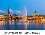 hamburg germany skyline at dusk   Shutterstock . vector #684050623