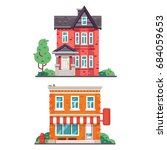 detailed colorful cottage house.... | Shutterstock .eps vector #684059653