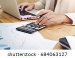 business woman uses a... | Shutterstock . vector #684063127