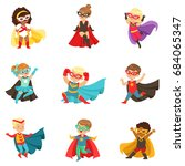 superhero girls and boys set ... | Shutterstock .eps vector #684065347