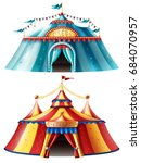 two realistic circus tent icon...