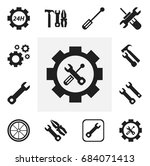 set of 12 editable mechanic... | Shutterstock .eps vector #684071413