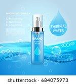 bottle of moisturizing thermal... | Shutterstock .eps vector #684075973