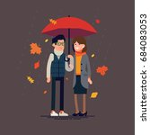 cheerful couple standing... | Shutterstock .eps vector #684083053