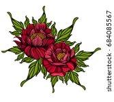 hand drawn peonies. sketch... | Shutterstock .eps vector #684085567