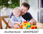 little boy with his father... | Shutterstock . vector #684098287