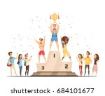 podium winners man composition... | Shutterstock .eps vector #684101677