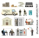 flat design set of bank...   Shutterstock .eps vector #684101797