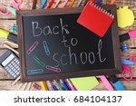 inscription back to school on... | Shutterstock . vector #684104137
