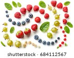 pattern of fresh berries... | Shutterstock . vector #684112567