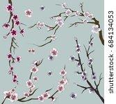set of realistic sakura japan... | Shutterstock . vector #684134053