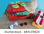 suitcase with things for... | Shutterstock . vector #684135823