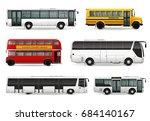 realistic set with school bus... | Shutterstock .eps vector #684140167