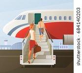boarding in airplane... | Shutterstock .eps vector #684140203