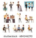 online meeting icons set with... | Shutterstock .eps vector #684146293