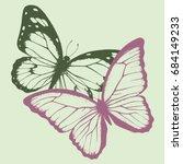 set of butterflies  hand drawn... | Shutterstock .eps vector #684149233