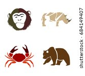 set of abstract animals on a... | Shutterstock .eps vector #684149407