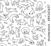 dachshund dog seamless vector... | Shutterstock .eps vector #684162637