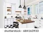 kitchen interior background...   Shutterstock .eps vector #684163933