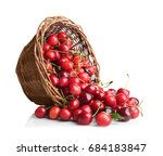 wicker basket with fresh ripe... | Shutterstock . vector #684183847