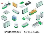 isometric supermarket interior... | Shutterstock . vector #684184603