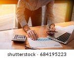 businessman hands holding pen... | Shutterstock . vector #684195223