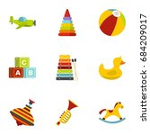 kid toys icons set  flat style   Shutterstock .eps vector #684209017