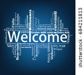 welcome tag cloud in different...   Shutterstock .eps vector #684211813