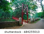the view of the red bridge at...   Shutterstock . vector #684255013