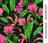 tropical leaves and flowers... | Shutterstock .eps vector #684283207