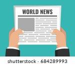 hands holding newspaper. daily... | Shutterstock .eps vector #684289993