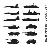 silhouette of military machines ... | Shutterstock .eps vector #684337057