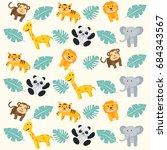 fun summer animal zoo seamless... | Shutterstock .eps vector #684343567