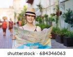 young woman traveling | Shutterstock . vector #684346063