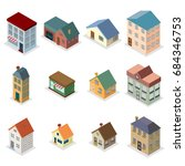 modern retro house street... | Shutterstock .eps vector #684346753