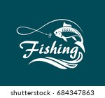 fishing emblem with waves and... | Shutterstock .eps vector #684347863