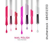 nail polish examples realistic... | Shutterstock .eps vector #684351553
