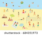 people relaxing on the summer... | Shutterstock .eps vector #684351973