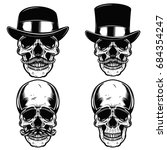 Set Of Skulls In Vintage Hats....