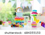 kids birthday party decoration... | Shutterstock . vector #684355153