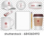 ceramic and paper coffee cup ... | Shutterstock .eps vector #684360493