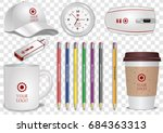 ceramic and paper coffee cup ... | Shutterstock .eps vector #684363313