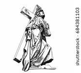 marble cemetery sculpture jesus ...   Shutterstock .eps vector #684381103
