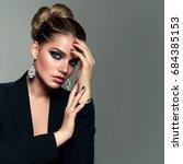 beautiful young white girl... | Shutterstock . vector #684385153